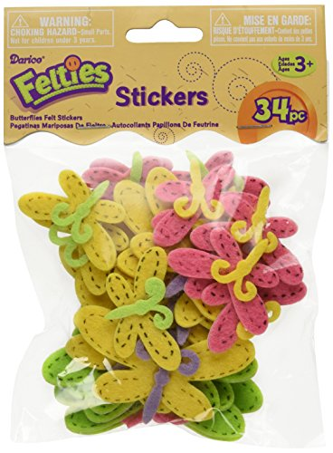Felties Stickers 34/Pkg-Butterfly With Stitches