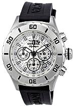 Invicta Signature II Chronograph Silver Dial Black Rubber Strap Mens Watch 7376