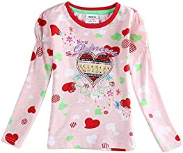 Girls Heart Printed Cotton Spring Long Sleeve T Shirt Pink