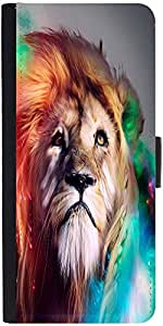 Snoogg Colorful Lion 2770 Graphic Snap On Hard Back Leather + Pc Flip Cover M...