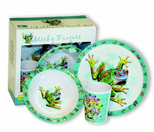 Motorhead Products Sticky Fingers' Frogs 3-Piece Children's Dish Set