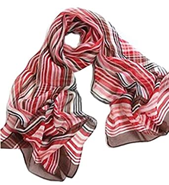 Chicastic Red, Brown, White Striped Print Silk Chiffon Scarf Wrap Stole Shawl