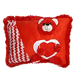 Kuddles Red Teddy Soft Love Cushion Pillow, Valentine Gifts for Kids & Her