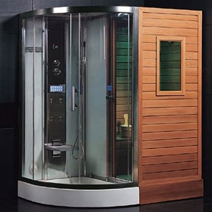 DS202-Steam-Sauna-Bath-Combo-With-Steam-Generator-Hydrotherapy-Back-Massage-Jets-Handheld-Shower-Telephone-Hookup-Exhaust-Fan-Storage-Shelves-Ozone