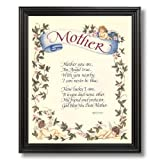 Motivational Poem Mother Angel Mom Flower Wall Picture Black Framed Art Print