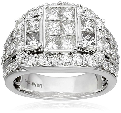 14k-White-Gold-with-Princess-and-Rounds-Diamond-Quad-Ring-3cttw-H-I-Color-I2-I3-Clarity