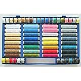 Juego de 64 hilos de colores (100% poliéster, apropiado para máquina de coser)
