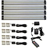 Lightkiwi® E7574 Warm White Dimmable LED Under Cabinet Lighting 4 Panel Standard Kit, 1120 Lumen, 3000 Kelvin, 24VDC, Dimmer Switch & All Accessories Included, Continuous Dimming, Aluminum Body