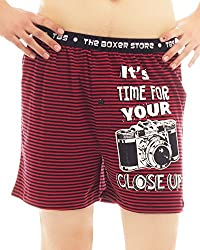 The Boxer Store Mens Cotton Boxer Shorts -Red -Medium