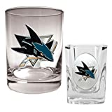 San Jose Sharks NHL Rocks Glass & Square Shot Glass Set - Primary Logo