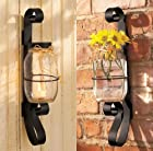 Set of 2 LED Flickering Candles and Wrought Iron Canning Mason Jar Candleholder Sconce Decor Wall Hanging Home Accent Metal Scrollwork Decorative Vase Candle Holder Decoration