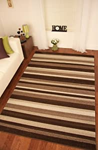 Napoli Brown Beige Modern Stripe Thick Carved Rugs from The Rug House