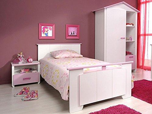 Kinderzimmer Beauty 2, 3-tlg.weiß rosa lackiert, Schrank,Kinderbett, Nachttisch online kaufen