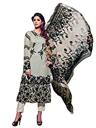 SANCHEY Womens Faux Georgette Semi-stitched Salwar Suit Dupatta Material (Grey)