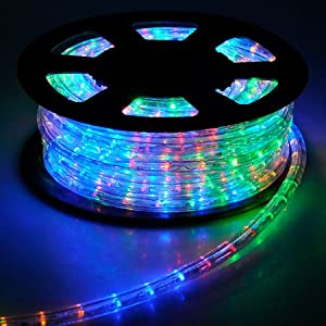 Amazon Com Christmas Lighting Led Rope Light 50ft Multi Color W Connector Outdoor
