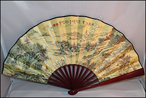 Large Beautiful Chinese Bamboo & Silk Hand Folding Fan, Wall Art, Decoration (Mountains in Clouds)