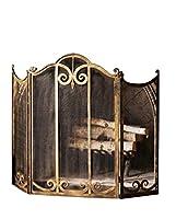 Classic Scroll Antique Gold Iron Firepla...