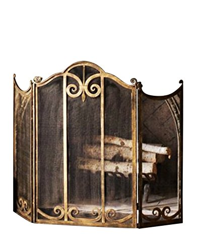 Classic Scroll Antique Gold Iron Fireplace Screen (Antique Fireplace Screen compare prices)