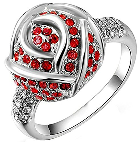 Alimab Jewelry Rings 18k Gold Plated Womens Wedding Bands Circle Round Crystal Red Roses White Size 8