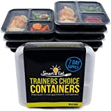 Trainers Choice Containers - BPA Free Meal Prep - 36oz 3-Compartment Food Containers -Stackable- Portion Control Set for Weight Loss - Dishwasher&Microwave Safe -7 PACK