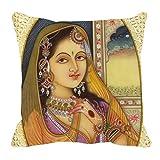 Royal Cushion Cover Digitally Printed Yellow Rani