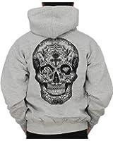 Sweat-shirt zippé à capuche Homme / Tattoo / Tête de mort style tatouage Cavalera