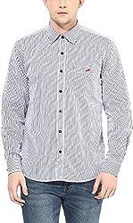 Y.U.V.I. Men's Cotton Regular Fit Casual Shirt (11113022-L, Navy & White, Large)