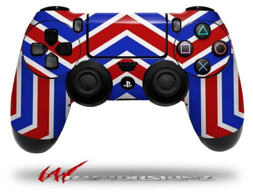 Zig Zag Red White and Blue - Decal Style Wrap Skin fits Sony PS4 Dualshock 4 Controller - CONTROLLER NOT INCLUDED skull and crossbones rainbow decal style skin fits microsoft xbox one wireless controller controller not included