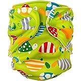 FuzziBunz Adjustable Diaper, Turtle time, 10-40 Pound