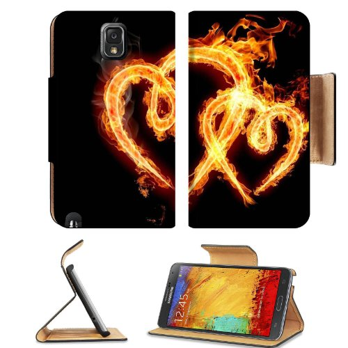 Smoking Burning Overlapping Hearts Samsung Galaxy Note 3 N9000 Flip Case Stand Magnetic Cover Open Ports Customized Made To Order Support Ready Premium Deluxe Pu Leather 5 15/16 Inch (150Mm) X 3 1/2 Inch (89Mm) X 9/16 Inch (14Mm) Liil Note Cover Professio front-921155