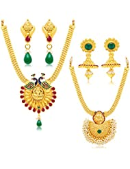 Sukkhi Eye-Catchy Gold Plated Set Of 2 Necklace Set Combo For Women