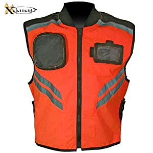 Xelement Mens Orange High Visibility Motorcycle Vest