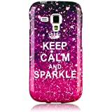 Beicase TPU Étui Housse - KEEP CALM and SPARKLE (Rosa)- pour Samsung Galaxy Trend GT-S7560 / Galaxy S Duos S7562 Shell Coque Case Gel Skin Cover Coquille en Silicone
