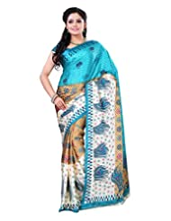 Surat Tex Cream & Green Crepe Daily Wear Printed Sarees With Blouse Piece-E578SE1001AST