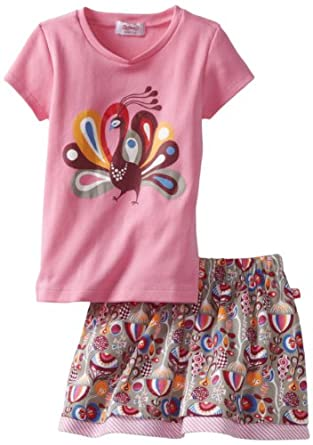 Zutano Girls 2-6X Toddler Peacock Tee and Flounce Skirt Set, Multi, 2T