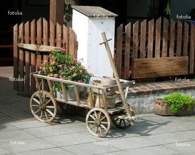 """Wallmonkeys Peel and Stick Wall Graphic - Decorative Cart, Rustic Style Decoration. Flowers, - 24""""W x 19""""H"""