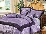 7 Pieces Light Purple Jacquard Floral Comforter Set Bed-in-a-bag Set Queen  ....