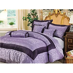 King Bedding Purple on Purple Jacquard Floral Comforter Set Bed In A Bag California Cal King
