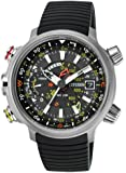 Citizen Promaster Altichron Men's Quartz Watch with Black Dial Analogue Display and Black PU Strap