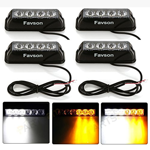 Favson 12-24V Universal 4 LED White&Yellow Strobe High Power Flasher Lights Car Truck Warning Caution Emergency Construction Strobe Light (4 pcs) (Honda Quad Head Lights compare prices)