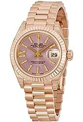 Rolex Lady Datejust Lilac Dial Diamond 18K Everose Gold Automatic Watch 279178LIRSDP