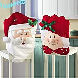 LOHOME® Christmas Chair Cover, Mr & Mrs Santa Claus Christmas Kitchen Chair Covers Christmas Decoration Prop Seat Cover Slipcover for Christmas Dining Room Holiday Festive Party (Two Pairs)