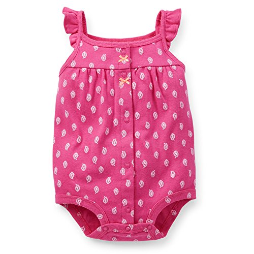 Carter's Baby Girls' Ruffled Snap-Up Romper (6 Months, Pink)