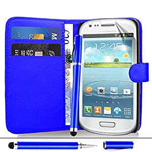 Samsung Galaxy Fame S6810 - Premium Leather Wallet Flip Case Cover Pouch + Screen Protector With Microfibre Polishing Cloth + Touch Screen Stylus Pen By CCUK