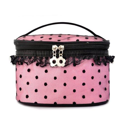 Cool2Day Girls Spot Design Lace Hems Makeup Cosmetic Tote Storage Bag B010448 (Purple)