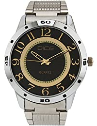 "Dice ""Numbers-4284"" Formal Round Shaped Wrist Watch For Men. Fitted With Beautiful Black Dial, Stainless Steel..."