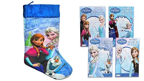 "Disney's Frozen Elsa, Anna & Olaf 20"" Silky Christmas Stocking & Bonus (1) Frozen Word Search Book"
