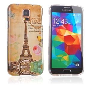 tinxi® Silikon Schutzhülle für Samsung Galaxy S5 Hülle TPU Silikon Rückschale Schutz Hülle Silicon Case Cover Schale Etui mit Eiffelturm