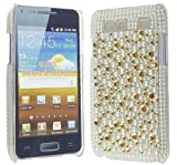 FOR SAMSUNG GALAXY S ADVANCE i9070 GOLD AND SILVER DIAMOND HARD BLING GEM CASE COVER