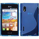 PhoneNatic LG Optimus L5 Hülle Silikon blau S-Style Tasche Optimus L5 Case + Schutzfolien
